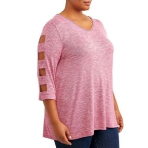 Plus Size 3/4 Sleeve V-Neck Caged Sleeve Knit Top
